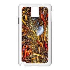 Abstract In Orange Sealife Background Abstract Of Ocean Beach Seaweed And Sand With A White Feather Samsung Galaxy Note 3 N9005 Case (white) by Nexatart