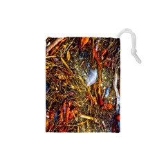 Abstract In Orange Sealife Background Abstract Of Ocean Beach Seaweed And Sand With A White Feather Drawstring Pouches (small)