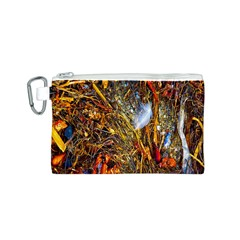 Abstract In Orange Sealife Background Abstract Of Ocean Beach Seaweed And Sand With A White Feather Canvas Cosmetic Bag (s) by Nexatart