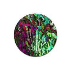 Bright Tropical Background Abstract Background That Has The Shape And Colors Of The Tropics Magnet 3  (round)