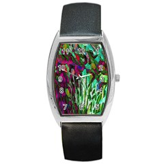 Bright Tropical Background Abstract Background That Has The Shape And Colors Of The Tropics Barrel Style Metal Watch by Nexatart