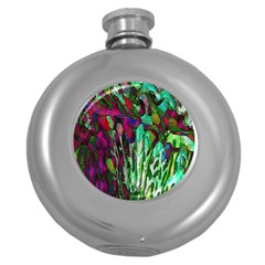 Bright Tropical Background Abstract Background That Has The Shape And Colors Of The Tropics Round Hip Flask (5 Oz) by Nexatart