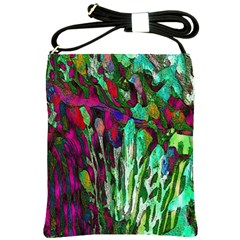 Bright Tropical Background Abstract Background That Has The Shape And Colors Of The Tropics Shoulder Sling Bags by Nexatart