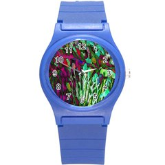 Bright Tropical Background Abstract Background That Has The Shape And Colors Of The Tropics Round Plastic Sport Watch (s) by Nexatart