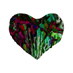 Bright Tropical Background Abstract Background That Has The Shape And Colors Of The Tropics Standard 16  Premium Heart Shape Cushions