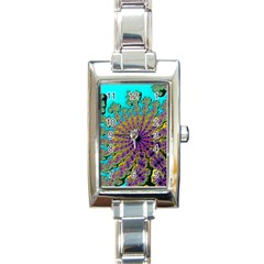 Beautiful Mandala Created With Fractal Forge Rectangle Italian Charm Watch by Nexatart