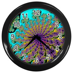 Beautiful Mandala Created With Fractal Forge Wall Clocks (black)