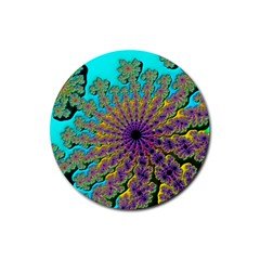 Beautiful Mandala Created With Fractal Forge Rubber Coaster (round)