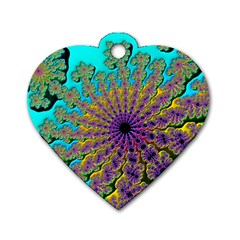Beautiful Mandala Created With Fractal Forge Dog Tag Heart (two Sides) by Nexatart