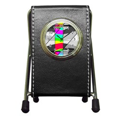 Colors Fadeout Paintwork Abstract Pen Holder Desk Clocks
