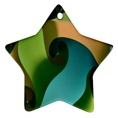 Ribbons Of Blue Aqua Green And Orange Woven Into A Curved Shape Form This Background Ornament (star)