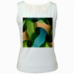 Ribbons Of Blue Aqua Green And Orange Woven Into A Curved Shape Form This Background Women s White Tank Top by Nexatart