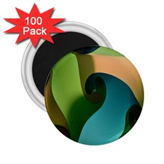 Ribbons Of Blue Aqua Green And Orange Woven Into A Curved Shape Form This Background 2 25  Magnets (100 Pack)  by Nexatart
