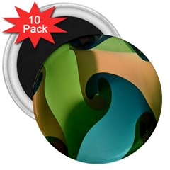 Ribbons Of Blue Aqua Green And Orange Woven Into A Curved Shape Form This Background 3  Magnets (10 Pack)