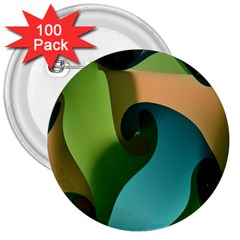 Ribbons Of Blue Aqua Green And Orange Woven Into A Curved Shape Form This Background 3  Buttons (100 Pack)