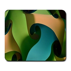 Ribbons Of Blue Aqua Green And Orange Woven Into A Curved Shape Form This Background Large Mousepads