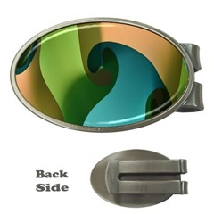 Ribbons Of Blue Aqua Green And Orange Woven Into A Curved Shape Form This Background Money Clips (oval)  by Nexatart