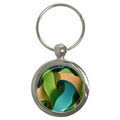 Ribbons Of Blue Aqua Green And Orange Woven Into A Curved Shape Form This Background Key Chains (round)