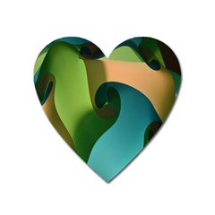 Ribbons Of Blue Aqua Green And Orange Woven Into A Curved Shape Form This Background Heart Magnet by Nexatart
