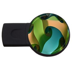 Ribbons Of Blue Aqua Green And Orange Woven Into A Curved Shape Form This Background Usb Flash Drive Round (2 Gb)