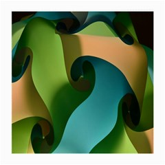 Ribbons Of Blue Aqua Green And Orange Woven Into A Curved Shape Form This Background Medium Glasses Cloth (2 Side) by Nexatart