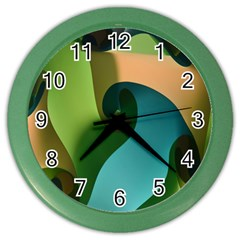 Ribbons Of Blue Aqua Green And Orange Woven Into A Curved Shape Form This Background Color Wall Clocks by Nexatart