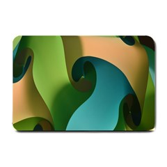 Ribbons Of Blue Aqua Green And Orange Woven Into A Curved Shape Form This Background Small Doormat  by Nexatart