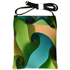 Ribbons Of Blue Aqua Green And Orange Woven Into A Curved Shape Form This Background Shoulder Sling Bags