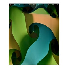 Ribbons Of Blue Aqua Green And Orange Woven Into A Curved Shape Form This Background Shower Curtain 60  X 72  (medium)  by Nexatart