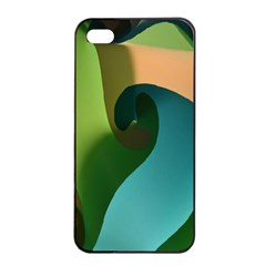 Ribbons Of Blue Aqua Green And Orange Woven Into A Curved Shape Form This Background Apple Iphone 4/4s Seamless Case (black) by Nexatart