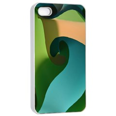 Ribbons Of Blue Aqua Green And Orange Woven Into A Curved Shape Form This Background Apple Iphone 4/4s Seamless Case (white)