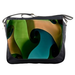 Ribbons Of Blue Aqua Green And Orange Woven Into A Curved Shape Form This Background Messenger Bags by Nexatart