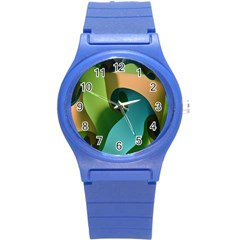 Ribbons Of Blue Aqua Green And Orange Woven Into A Curved Shape Form This Background Round Plastic Sport Watch (s)