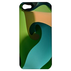 Ribbons Of Blue Aqua Green And Orange Woven Into A Curved Shape Form This Background Apple Iphone 5 Hardshell Case by Nexatart