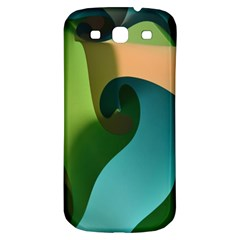 Ribbons Of Blue Aqua Green And Orange Woven Into A Curved Shape Form This Background Samsung Galaxy S3 S Iii Classic Hardshell Back Case by Nexatart