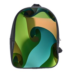 Ribbons Of Blue Aqua Green And Orange Woven Into A Curved Shape Form This Background School Bags (xl)  by Nexatart