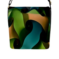 Ribbons Of Blue Aqua Green And Orange Woven Into A Curved Shape Form This Background Flap Messenger Bag (l)
