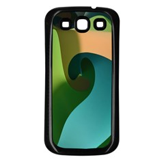 Ribbons Of Blue Aqua Green And Orange Woven Into A Curved Shape Form This Background Samsung Galaxy S3 Back Case (black) by Nexatart