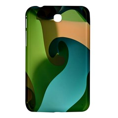 Ribbons Of Blue Aqua Green And Orange Woven Into A Curved Shape Form This Background Samsung Galaxy Tab 3 (7 ) P3200 Hardshell Case