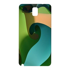 Ribbons Of Blue Aqua Green And Orange Woven Into A Curved Shape Form This Background Samsung Galaxy Note 3 N9005 Hardshell Back Case by Nexatart