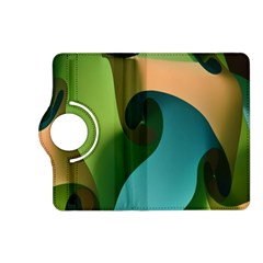 Ribbons Of Blue Aqua Green And Orange Woven Into A Curved Shape Form This Background Kindle Fire Hd (2013) Flip 360 Case by Nexatart