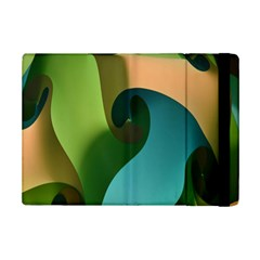 Ribbons Of Blue Aqua Green And Orange Woven Into A Curved Shape Form This Background Ipad Mini 2 Flip Cases by Nexatart
