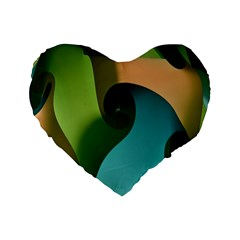 Ribbons Of Blue Aqua Green And Orange Woven Into A Curved Shape Form This Background Standard 16  Premium Flano Heart Shape Cushions by Nexatart