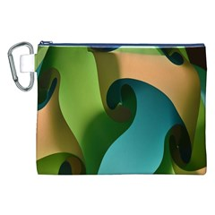 Ribbons Of Blue Aqua Green And Orange Woven Into A Curved Shape Form This Background Canvas Cosmetic Bag (xxl) by Nexatart
