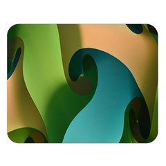 Ribbons Of Blue Aqua Green And Orange Woven Into A Curved Shape Form This Background Double Sided Flano Blanket (large)  by Nexatart