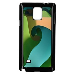 Ribbons Of Blue Aqua Green And Orange Woven Into A Curved Shape Form This Background Samsung Galaxy Note 4 Case (black) by Nexatart