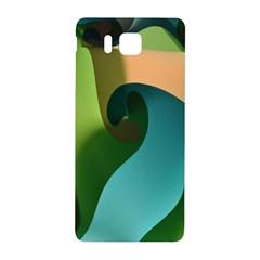 Ribbons Of Blue Aqua Green And Orange Woven Into A Curved Shape Form This Background Samsung Galaxy Alpha Hardshell Back Case by Nexatart