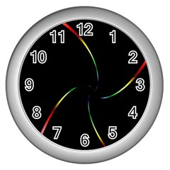 Digital Computer Graphic Wall Clocks (silver)  by Nexatart