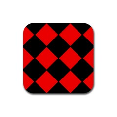 Red Black Square Pattern Rubber Coaster (square)
