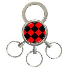 Red Black Square Pattern 3 Ring Key Chains by Nexatart